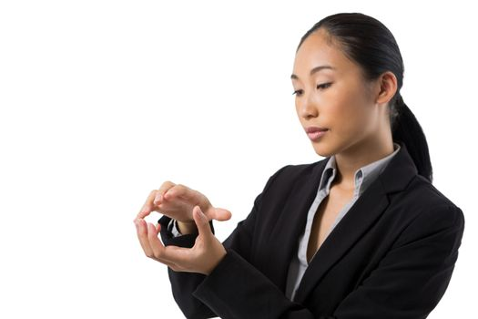 Businesswoman holding invisible object