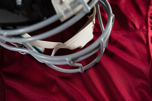 Close up of sports helmet on jersey