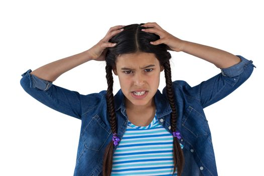 Frustrated girl scratching her head