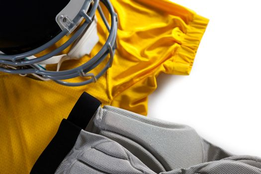 Close up of sports jersey with helmet