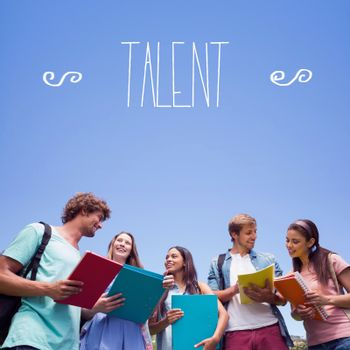 Talent against students standing and chatting together