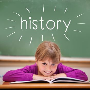 The word history against cute pupil sitting at desk