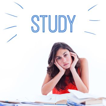 The word study against stressed student at desk