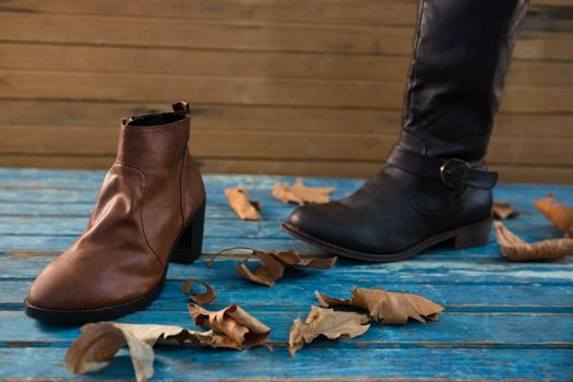 Close up boot and shoe