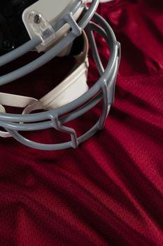 Sports helmet on jersey