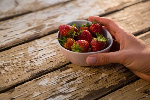 Cropped hand holding bowl containing strawberries