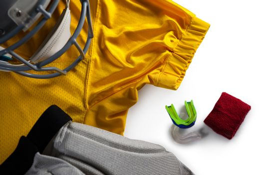 High angle view of sports clothing