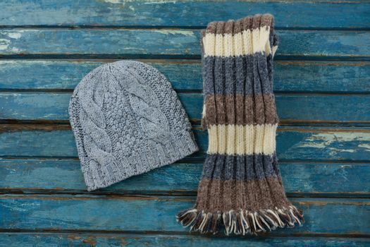 Overhead view of knit hat and scarf