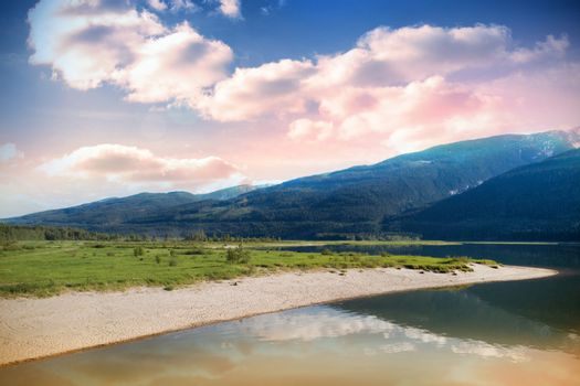 Lake Against Mountain Range
