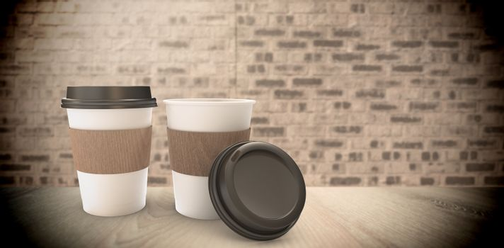 Composite image of disposable coffee cup
