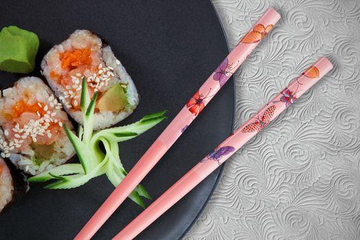 Close up of japanese food sushi against white background
