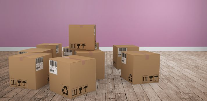 Composite image of group of illustrated cardboard boxes