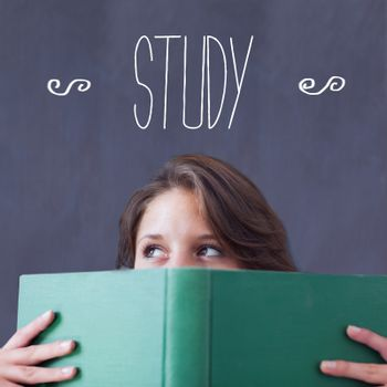 The word study against student holding book