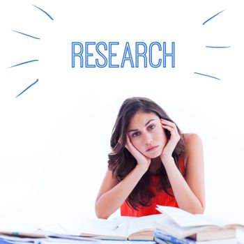 The word research against stressed student at desk