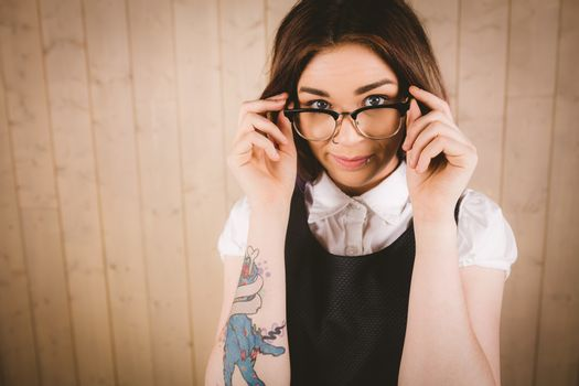 Woman in spectacles posing