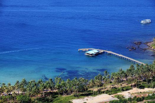 Aerial view of the resort coast of Vietnam, Phu Quoc