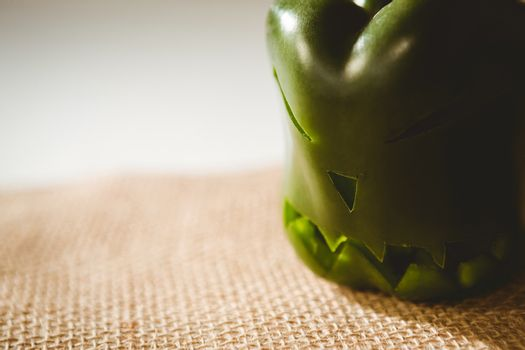 Close up of carved green bell pepper