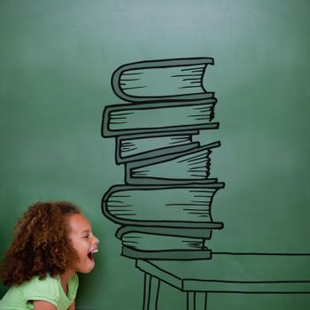 Stack of books doodle against cute pupil shouting