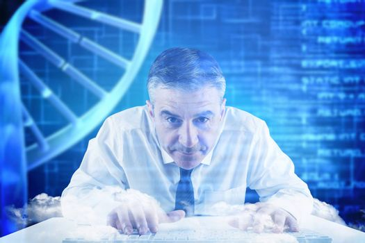 Mature businessman typing on keyboard against blue dna helix with texture
