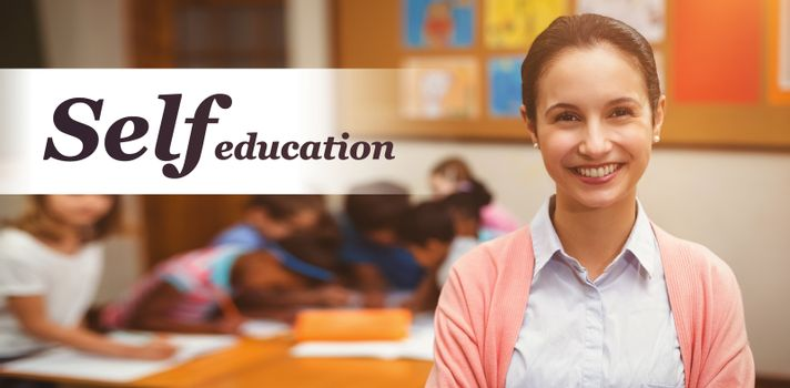 Self education word against portrait of teacher smiling in classroom