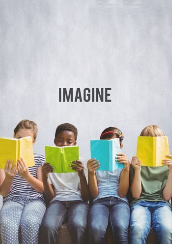 Group of children reading books in front of Imagine text