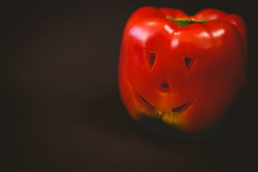 Close up of carved red bell pepper