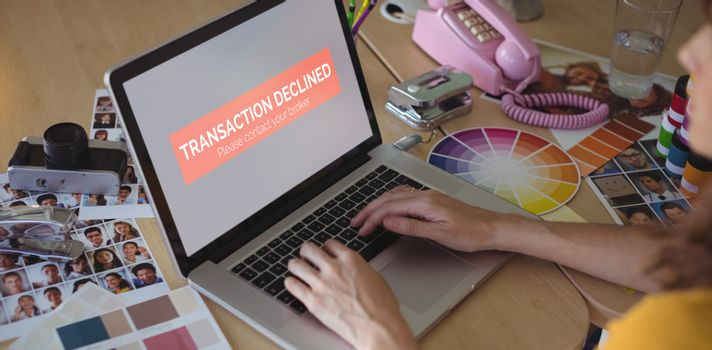 Composite image of transaction declined text on display