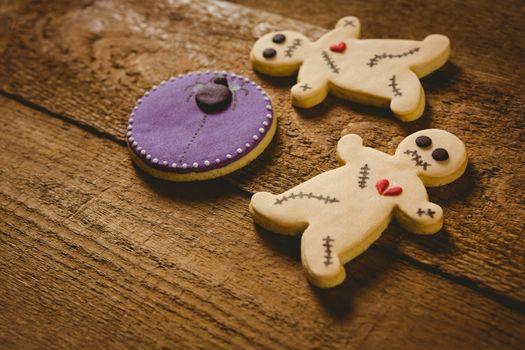 High angle view of Halloween cookies on table