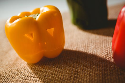 Close up of carved yellow bell pepper