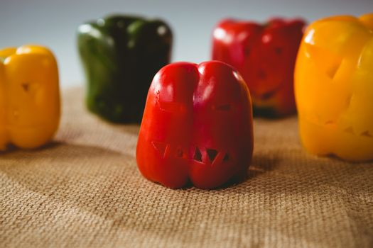 Close up of carved colorful bell peppers