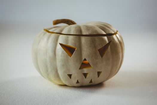 High angle view of white pumpkin during Halloween