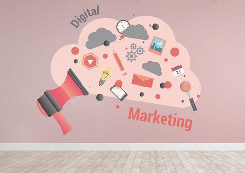 Digital marketing cloud graphics in pink room