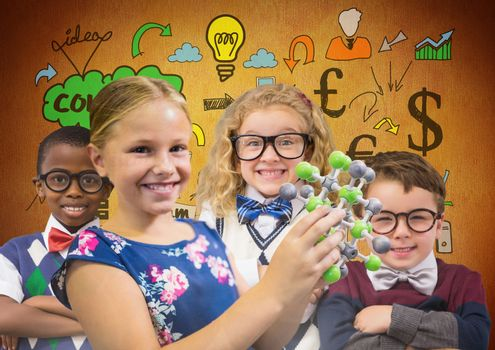 Science clever kids in front of rustic background with ideas drawings