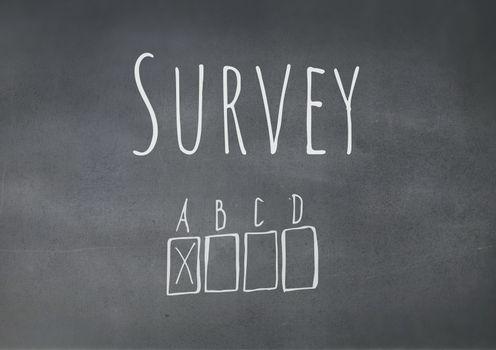 Survey graphics over blackboard