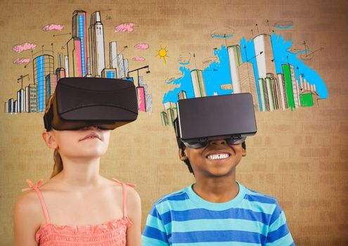 kids wearing VR headsets with brick background and colorful cities graphics