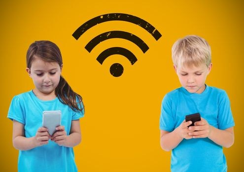 Texting kids with blank yellow background with wi-fi graphic