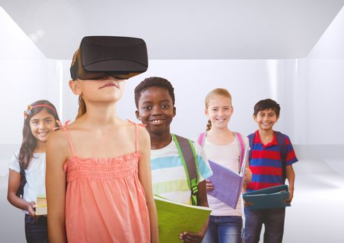 Kids with VR headset in room