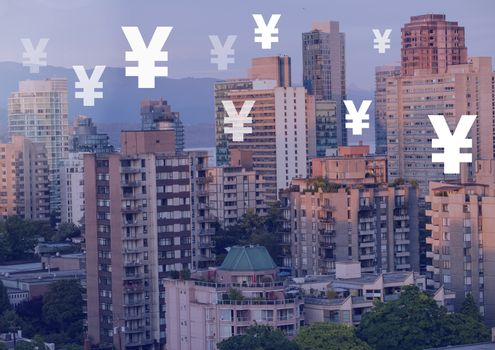 Yen icons over city buildings