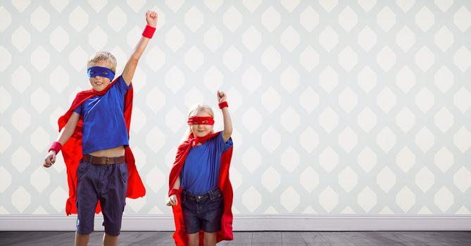 Superhero kids in room