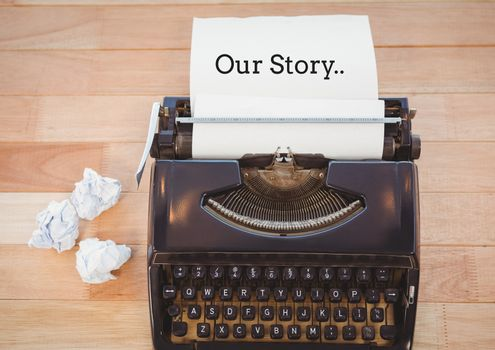 Our Story text on typewriter on desk