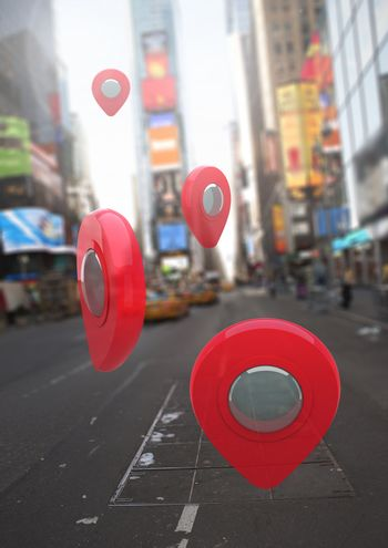 Location pointer markers in city street