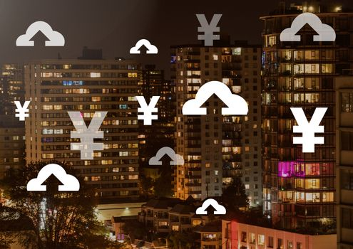 Yen and upload icons over city