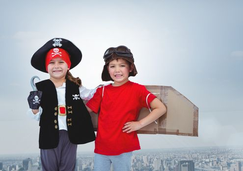 Kids in pirate and pilot costumes over city