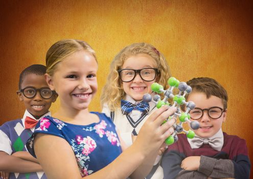 Science clever kids in front of rustic background