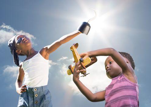 Kids playing under sky sunshine