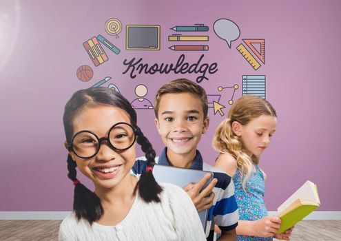 Clever kids with blank room background with knowledge graphics