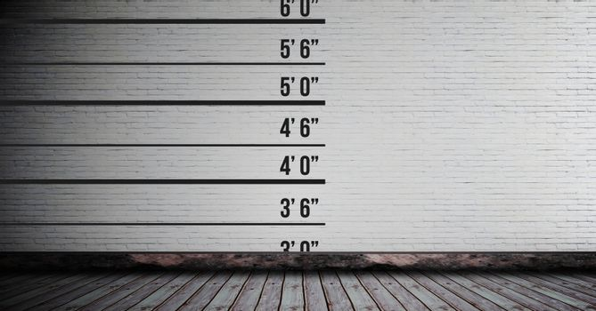 Height measurement chart on wall