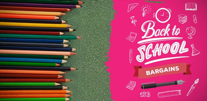 back to school against overhead view of various colored pencils