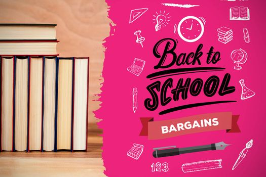 back to school against various books arranged on table