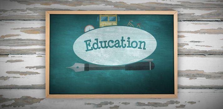 Chalkboard against education against green chalkboard